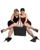 kvinnligbärbar datoranvändare royaltyfria bilder