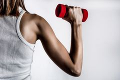 Kvinnligbaksida och muskelhand med hanteln i t-skjorta i grå studiobakgrund fotografering för bildbyråer
