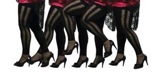 Kvinnligben i svarta strumpor och höga häl Royaltyfri Foto