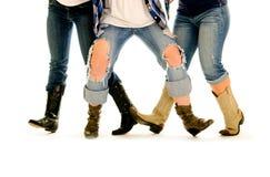 Kvinnligben och cowboy Boots Line Dance Fotografering för Bildbyråer