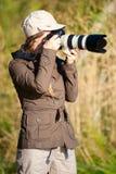 kvinnligfotograf Royaltyfri Foto