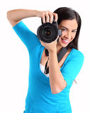 kvinnligfotografskytte dig Arkivfoto