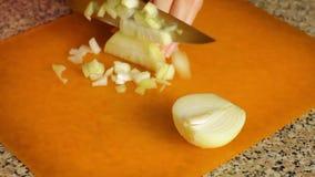 Kvinnlighänder klippte löken på en skärbrädanärbild Maler lökar för att laga mat lager videofilmer