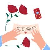 Kvinnlighänder, ska du att gifta sig mig anmärkningen och ska ringa stock illustrationer
