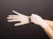 Kvinnlighänder som sätter på latexhandskar arkivfoto