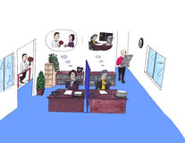 kvinnligkontor som tänker två arbetare Stock Illustrationer