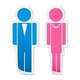 kvinnligmanligetiketter royaltyfri illustrationer
