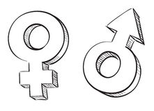 kvinnligmanligsymboler Royaltyfri Fotografi