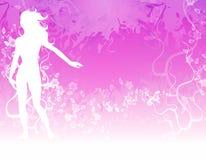 kvinnlign blommar silhouetten Arkivfoto