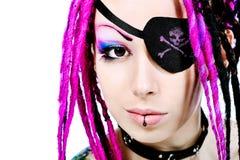 kvinnlign piratkopierar royaltyfri fotografi