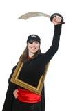 Kvinnlign piratkopierar med svärd- och fotoramen Royaltyfri Foto