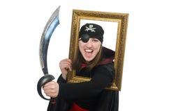 Kvinnlign piratkopierar med svärd- och fotoramen Arkivbild