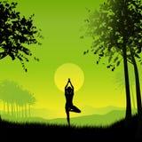 kvinnlign poserar yoga royaltyfri illustrationer