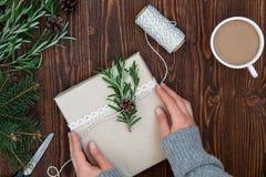 Kvinnlign räcker hållande julklapp Arkivbild