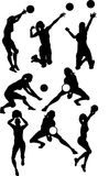 kvinnlign silhouettes volleyboll Royaltyfria Bilder