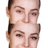Kvinnlign synar före och efter ögonfransförlängning arkivbild