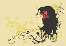 kvinnligprofil royaltyfri illustrationer