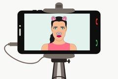 KvinnligSelfie foto på smartphonen i monopod med djura framsidabeståndsdelar - öron och nr., musmaskering vektor