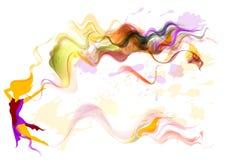 Kvinnligsilhouette med den eleganta vektorn Vektor Illustrationer
