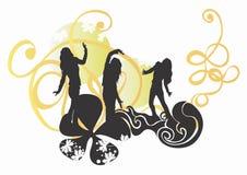 kvinnligsilhouettes royaltyfri illustrationer