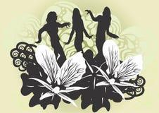 kvinnligsilhouettes Royaltyfria Foton