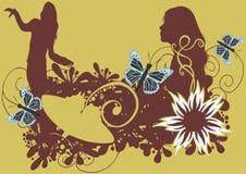 kvinnligsilhouettes vektor illustrationer