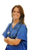 kvinnligsjuksköterskastetoskop Arkivfoton