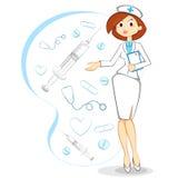 kvinnligsjuksköterskavektor Royaltyfria Bilder