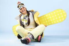 kvinnligsnowboarder Royaltyfria Foton
