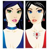 kvinnligstående royaltyfri illustrationer