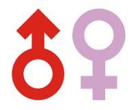 kvinnligsymbolsmanlign könsbestämmer Arkivbild