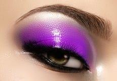 Kvinnligt öga för Closeup med ljust smink för härligt mode Härlig skinande blå ögonskugga som är våt blänker, svart eyeliner royaltyfria bilder