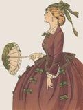 Kvinnligt antikt franskt funktionsläge för La för modeplatta royaltyfri illustrationer