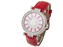 Kvinnligt armbandsur med juvlar och diamanten Arkivfoton