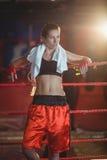 Kvinnligt boxareanseende i boxningsring Arkivbilder