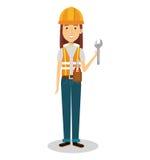 kvinnligt byggmästareavatartecken royaltyfri illustrationer