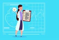 Kvinnligt för för analysresultat och diagnos för doktor Holding Clipboard With sjukhus för arbetare för medicinska kliniker vektor illustrationer