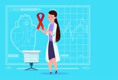 Kvinnligt för sjukdomförhindrande för doktor Hold Cancer Ribbon sjukhus för arbetare för medicinska kliniker stock illustrationer