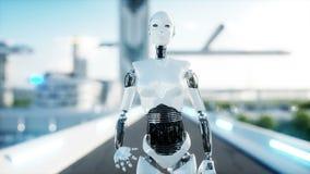 Kvinnligt gå för robot Futuristisk stad, stad Folk och robotar Realistisk animering 4K royaltyfri illustrationer