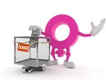Kvinnligt genussymboltecken med donationasken vektor illustrationer