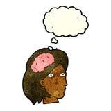 kvinnligt huvud för tecknad film med hjärnsymbol med tankebubblan Arkivbild
