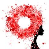 Kvinnligt huvud med frisyren som göras från mycket lilla hjärtor royaltyfri illustrationer
