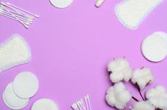 Kvinnligt hygienbegrepp, kvinnas sanitära produkter på rosa bakgrund arkivfoto