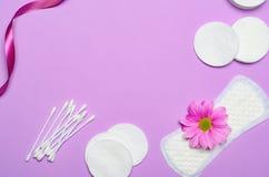 Kvinnligt hygienbegrepp, kvinnas sanitära produkter på rosa bakgrund royaltyfri foto