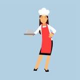 Kvinnligt kockkocktecken i för uppläggningsfatsticklingshus för rött förkläde hållande illustration royaltyfri illustrationer