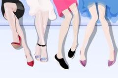 Kvinnligt lägger benen på ryggen vektor illustrationer