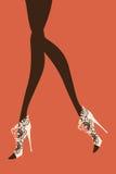 Kvinnligt lägger benen på ryggen också vektor för coreldrawillustration Royaltyfri Bild