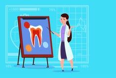 Kvinnligt Looking At Tooth för doktor tandläkare sjukhus för Stomatology för arbetare ombord för medicinska kliniker stock illustrationer