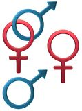 kvinnligt male symbol stock illustrationer