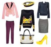 Kvinnligt mode beklär isolerad collage Klassiska kontorskläder royaltyfria bilder